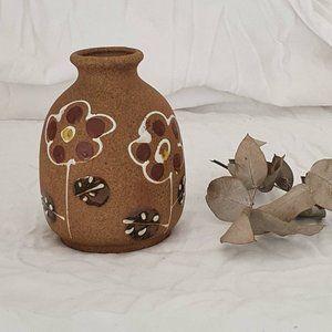 Mid Century Modern Stoneware Pottery Vase Boho